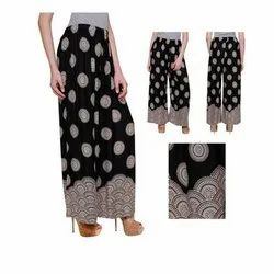 Stitched Black, Nevy And Marun BeeLove Ladies Printed Rayon Palazzo, Size: Free Size