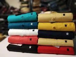 Casual Wear Collar Neck Men Plain Shirts, Size: Xl