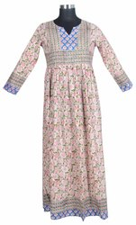 10 Cotton Hand Block Printed Women Long Dress DR579