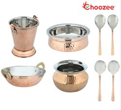 Choozee - Copper/Steel Serving Item Set of 8 Pcs (Including Bucket, Handi, Kadhai, Dhahi Handi and S