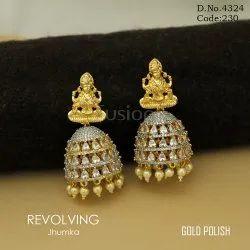 American Diamond Temple Jhumka Earrings