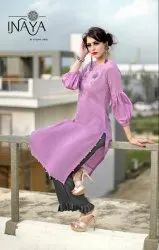 Muslin Formal Collection-Sl Stylish Long Kurti With Designer Palazzo