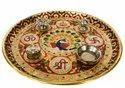 Nirmala Handicrafts Pooja Thali Meenakari Work Home Decor And Temple Use 9 inch