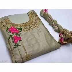 Semi-Stitched Churidar Ladies Cotton Suit, Machine wash