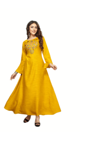 Ankle Length Collar Neck Designer Kurti, Machine wash