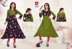 3/4th Sleeve Multicolor Raashi-Two in One Umbrella Style Two Side Wearable Kurtis, Size: M to XXL