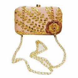 Metal+ Canvas Stylish Clutch Hand Bag, Capacity: 300 Gm