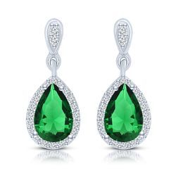 Copper Engagement Green Stone CZ Earring
