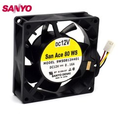 SanAce Cooling Fan 9WS0812H401 12V 0.16A with 3 Pin White Connector