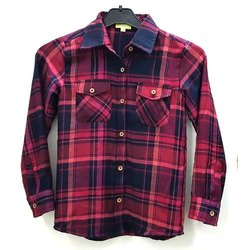 Collar Neck Cotton Checkered Girls Shirt
