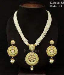 Traditional Pearl Beaded Meenakari Pendant Set