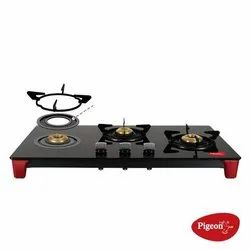 Stainless Steel and Glass 3 Burner Pigeon Gas Stoves