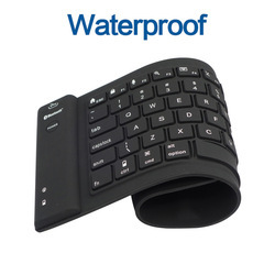 Black Wireless Watarproof Silicone Keyboard, Size: Small