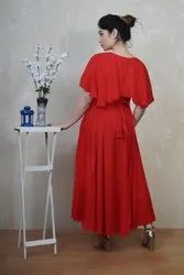 Red Cotton Ladies Party Wear Dress, Size: M To Xxl