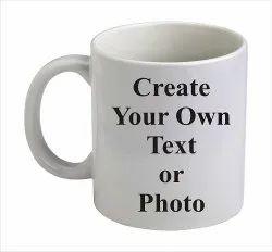 Printed Round Corporate Logo White Mug