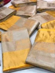 Exclusive Kora Tissue Weaving Sarees With Pretty Zari Weaves And Designer Blouse