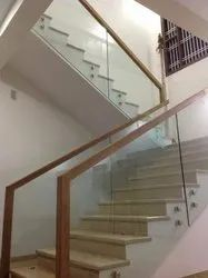 Top Wooden Glass Handrails