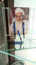 Glass Pen Stand With Picture