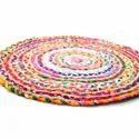 Cotton Multicolor Round Rug