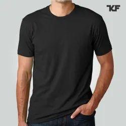Cotton Plain Mens Black T-shirt, Size: S-XXL