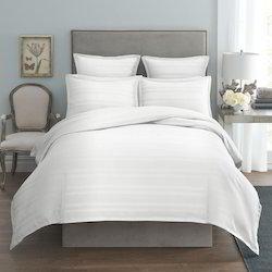 Jindal Plain White Satin Stripe Bed Sheet