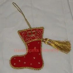 Zari Hand Embroidery Christmas Ornament Shoes