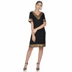 Vintage Brass Sequins Border Black Dress