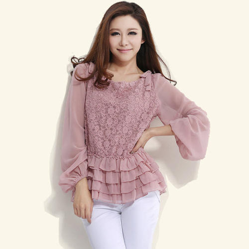 Pink Embroidered Casual Top