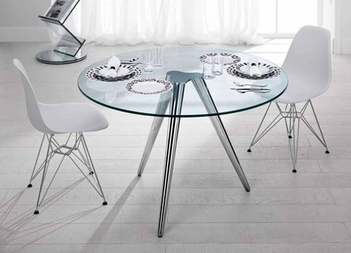 Rupnath Enterprises Round Glass Restaurant Table
