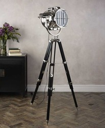 Pottery Barn Searchlight Wooden Tripod Lamp