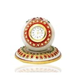 Table Round Clock Red Green Stone