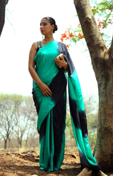 Pure Crepe Black And Green Double Dye Saree, With Blouse
