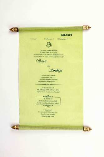 scroll wedding invitation card in green wooly paper