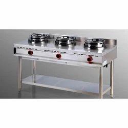 Stainless Steel 3 Three Burner Range, For Commercial