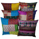 Vintage Patola Patch Silk Kantha Cushion Cover