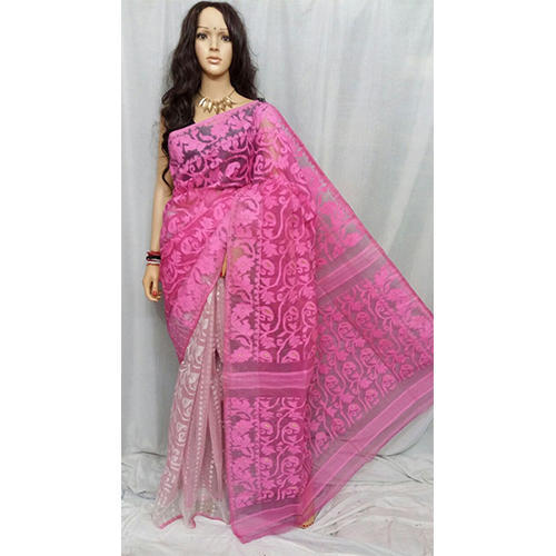 44bd70241e208 Cotton Dhakai Jamdani Saree Without Blouse Piece