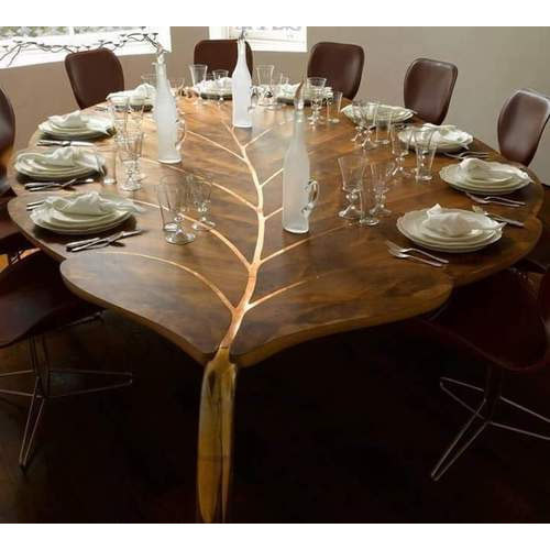 Brown Leaf Shaped Dining Set With 10 Chair