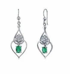 925 Emerald Long Dangling Silver Earrings