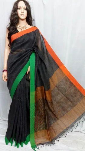 a2ead89d45c Linen Sarees (Black background with Green   Orange Border)