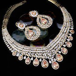 Vivah Creation champagne American Diamond Necklace Set, Size: adjustable