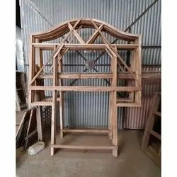Wood Attached Door Frame With Window, Frame Material: Imported Sagwan Tik, Size: 7 X 8.5 Feet