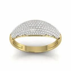 Pava Setting Diamonds Wedding Ring 18K Yellow Gold 0.79 Ct IJ-SI Clarity