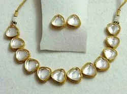 Wedding Wear Artificial Jewelry Heart Shape Good Quality Kundan Necklace Set