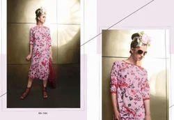 Floral Pink Stylish Kurti