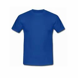 Plain Round Neck Mens Blue Half Sleeve T-Shirt