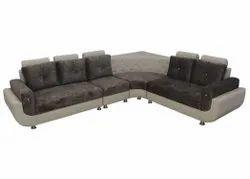 Hutaib Furniture Wooden L shape Sofa set, For Home, Hall