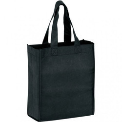 Plain Black Non Woven Bag With Side Gusset