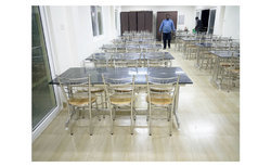 Stainless Steel Granite Top Canteen Dining Tables, Shape: Rectangular