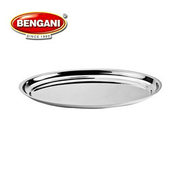 Silver Stainless Steel Oval Plate