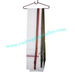 Cotton Gamcha White 2 Meter Long, Wide Design Fancy Border